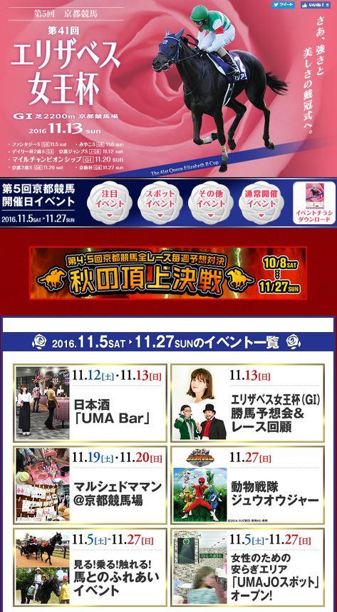 2016年11月京都競馬場イベント情報