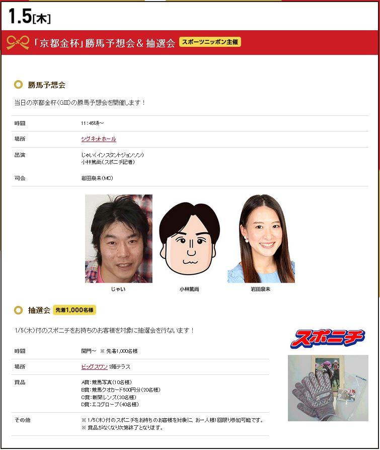 2017年01月京都競馬場イベント情報詳細