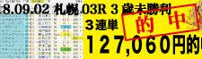 2018年9月2日-札幌03R-3歳未勝利-電脳競馬新聞3連単127,060円的中!バナー