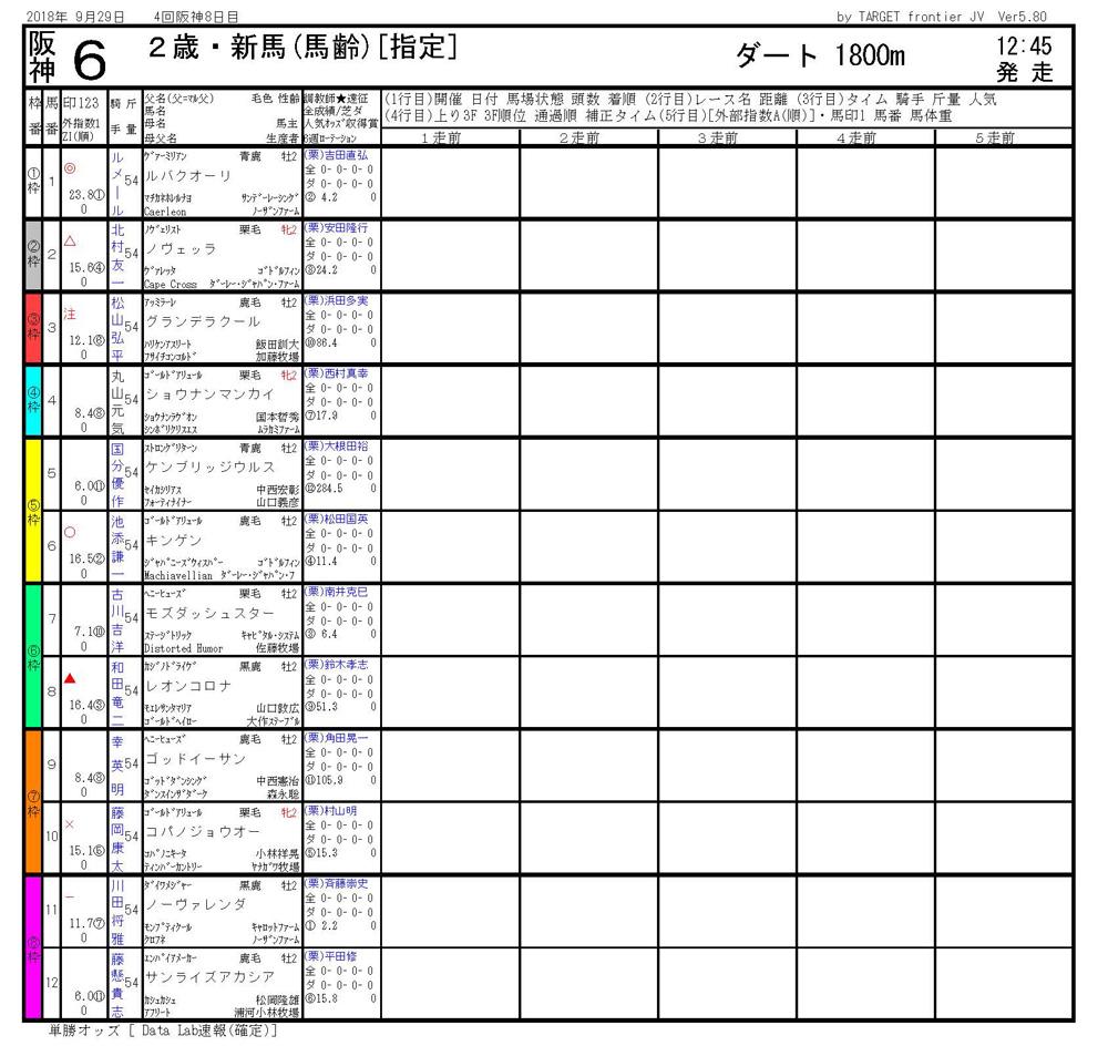 2018年9月29日開催 阪神06R 2歳新馬 電脳競馬新聞3連単318,430円馬券的中