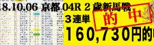 2018年10月6日-京都04R-2歳・新馬-電脳競馬新聞3連単160,730円的中!バナー