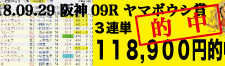 2018年9月29日-阪神09R-ヤマボウシ賞-電脳競馬新聞3連単118,900円的中!