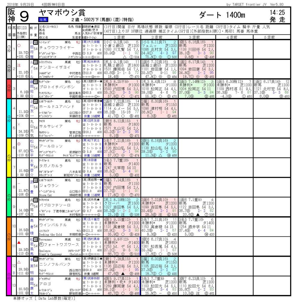 2018年9月29日開催 阪神09R ヤマボウシ賞 電脳競馬新聞3連単118,900円馬券的中