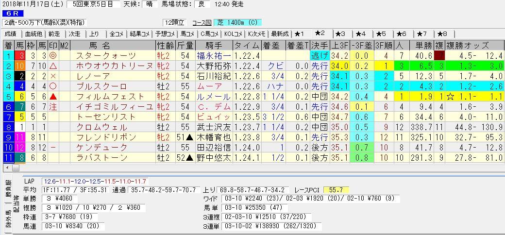 2018年11月17日開催 東京06R 2歳500万下 電脳競馬新聞3連単3連単138,930円馬券的中!結果
