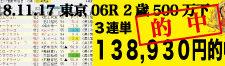 2018年11月17日 京都06R 2歳500万下 電脳競馬新聞3連単138,930円的中!