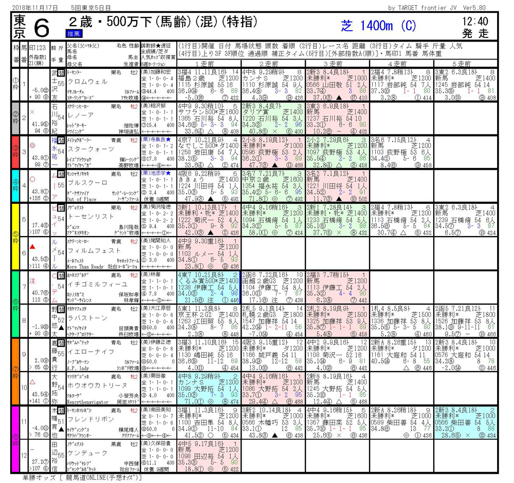 2018年11月17日開催 東京06R 2歳500万下 電脳競馬新聞3連単138,930円馬券的中
