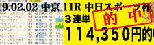 2019年02月02日-中京11R-中日スポーツ杯-電脳競馬新聞3連単114,350円的中!!バナー