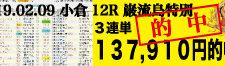 2019年02月09日-小倉12R-巌流島特別-電脳競馬新聞3連単137,910円的中!!バナー