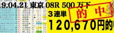 2019年04月21日-東京08R-500万下-電脳競馬新聞3連単120,670円的中!!