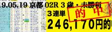 2019年05月19日 京都02R 3歳・未勝利 電脳競馬新聞3連単246.170円的中!!