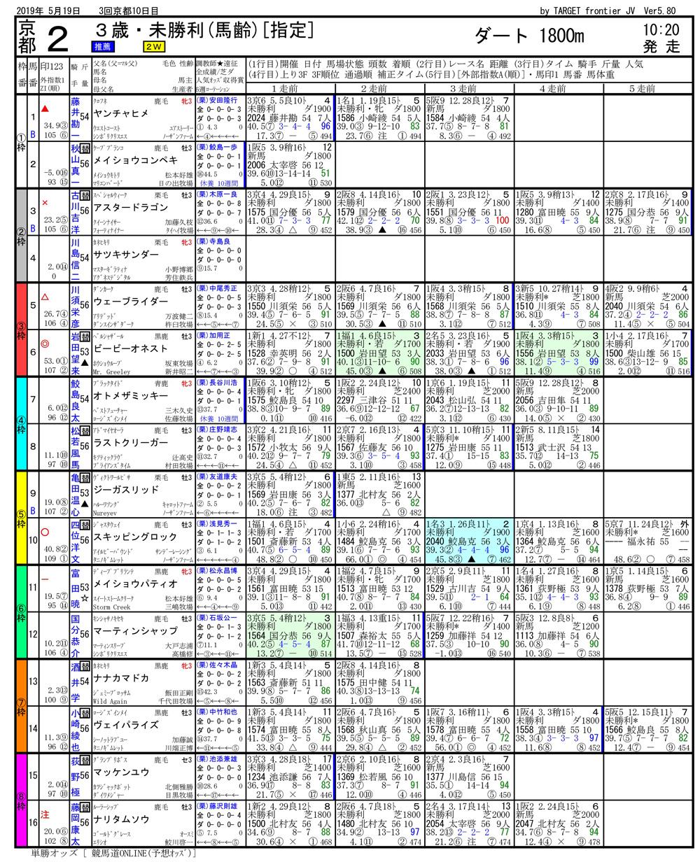2019年05月19日開催 京都02R 3歳・未勝利 電脳競馬新聞3連単246.170円馬券的中