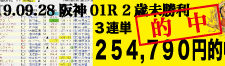 2019年09月28日-阪神01R-2歳未勝利-電脳競馬新聞3連単254,790円的中!!バナー