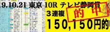 2019年10月21日-東京10R-テレビ静岡賞-電脳競馬新聞3連複150,150円的中!!バナー