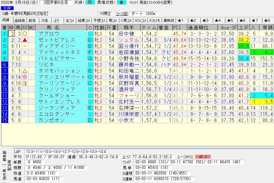 2020年02月16日開催 京都01R 3歳・未勝利 電脳競馬新聞 3連単 3連単290,210円馬券的中!結果