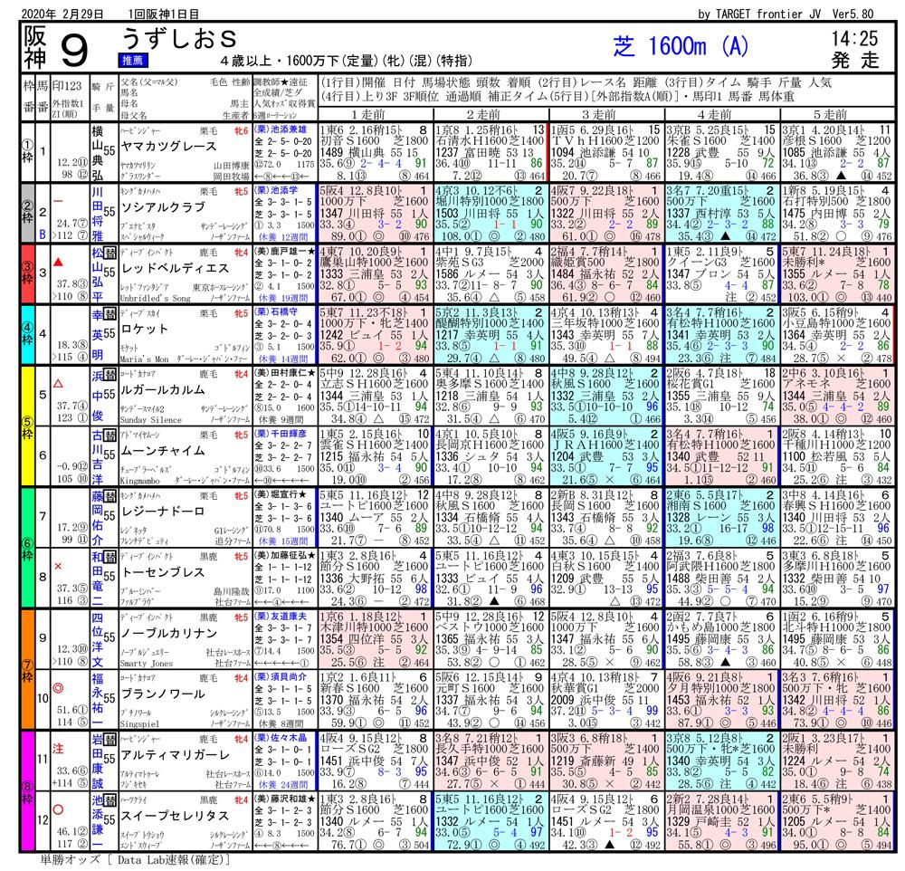 2020年02月29日開催 阪神09R うずしおステークス 電脳競馬新聞 3連単104,460円馬券的中