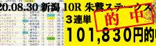2020年08月30日-新潟10R-朱鷲ステークス-電脳競馬新聞3連単101,830円的中!!バナー