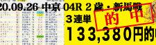 2020年09月26日-中京04R-2歳・新馬-電脳競馬新聞3連単133,380円的中!!