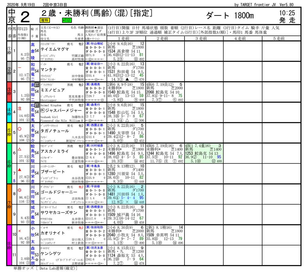 2020年09月19日開催 中京02R 2歳・未勝利 電脳競馬新聞 3連単569,990円馬券的中