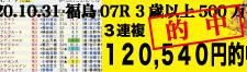 2020年10月31日-福島07R-3歳以上500万下-電脳競馬新聞-3連単120,540円的中!!バナー