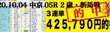 2020年10月04日-中京05R-2歳・新馬戦-電脳競馬新聞-3連単425,790円的中!!