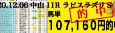 2020年12月06日-中山11R-ラピスラズリS-電脳競馬新聞3連単107,160円的中!!