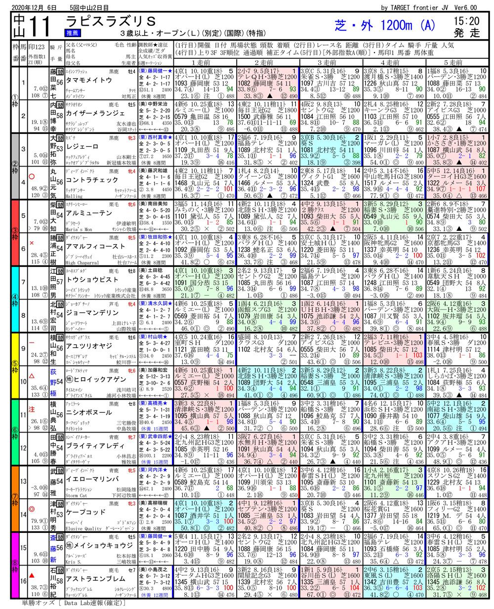 2020年12月06日開催 中山11R ラピスラズリS 電脳競馬新聞 馬単107,160円馬券的中