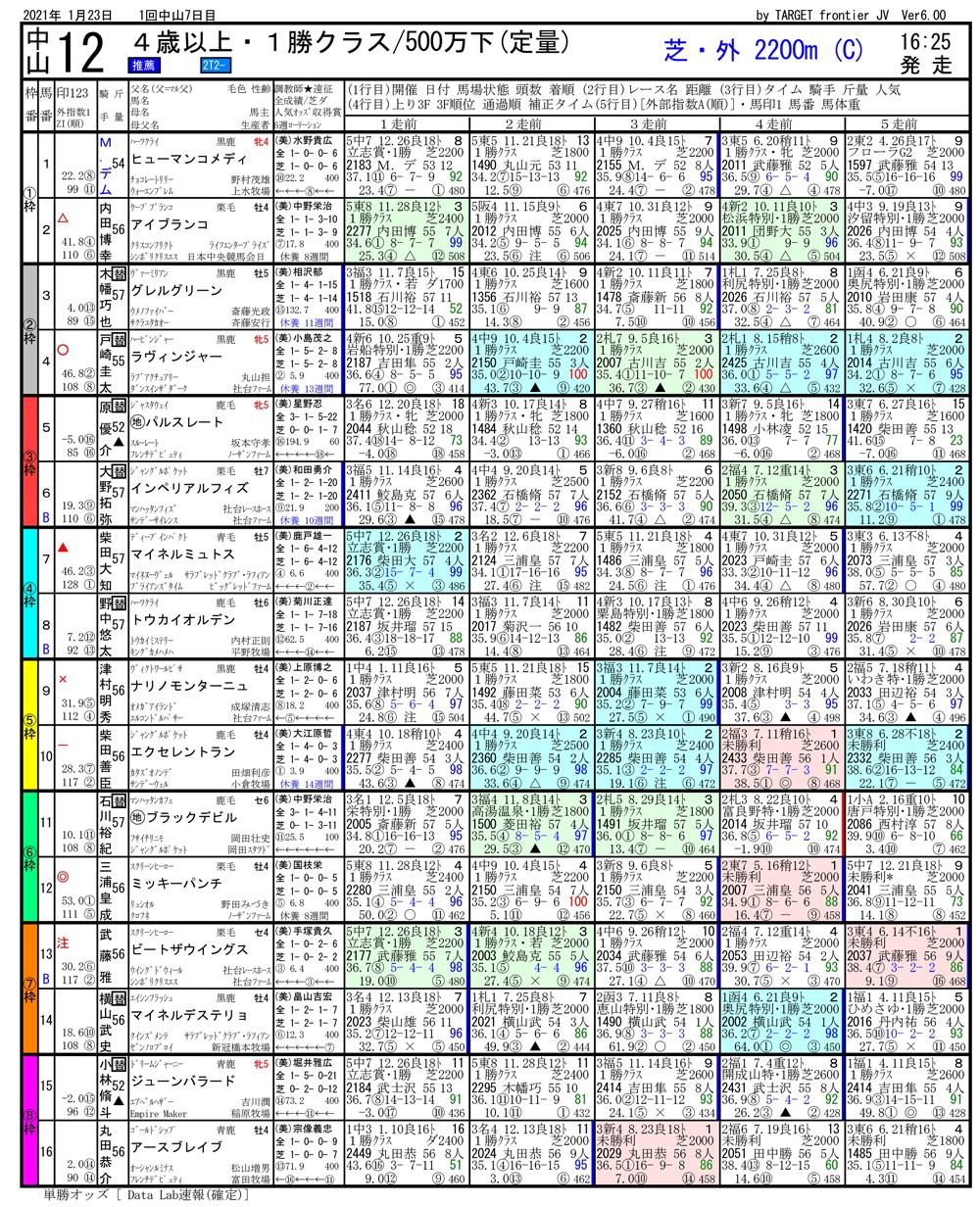 2021年01月23日開催 中山12R 4歳以上500万下 電脳競馬新聞 3連単133,040円馬券的中