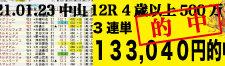 2021年01月23日-中山12R-4歳以上500万下-電脳競馬新聞-3連単133,040円的中!!バナー