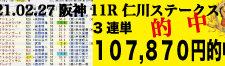 2021年02月27日 阪神11R 仁川ステークス 電脳競馬新聞3連単107,870円的中!!バナー