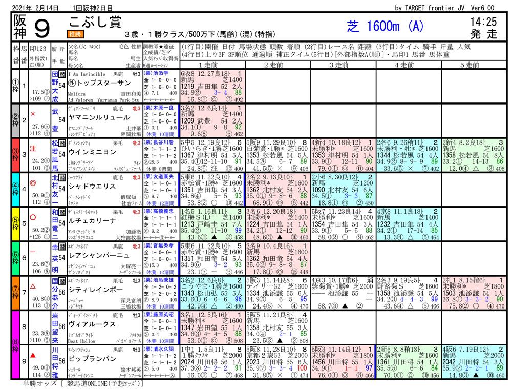 2021年02月14日開催 阪神09R 3歳500万下 電脳競馬新聞 3連単223,290円馬券的中
