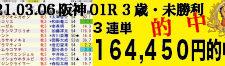 2021年03月06日 阪神01R 3歳・未勝利 電脳競馬新聞3連単164,450円的中!!