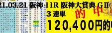2021年03月21日 阪神11R 阪神大賞典(GⅡ) 電脳競馬新聞 3連単120,400円的中!!