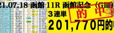 2021年07月18日-函館11R-函館記念-電脳競馬新聞3連単201,770円的中!!バナー